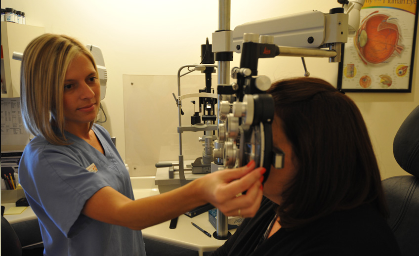 refracting as part of a routine eye exam